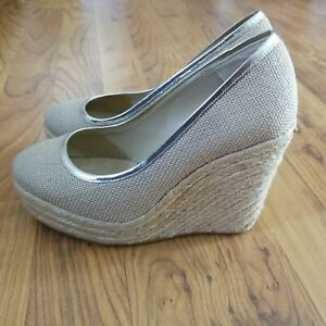 Jimmy Choo 124Prisha Sz 36 Natural Jute Wedge Shoes Worn Once Retail New $450