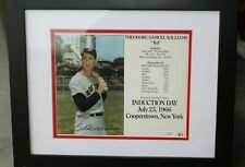 Ted Williams Autograph Framed Picture from 1966 Baseball Hall of Fame Induction