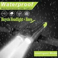 USB Rechargeable LED Bike Headlight Bike Head Light Front Lamp Cycling w/Horn