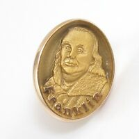 Vintage Estate Solid 10K Yellow Gold Benjamin Franklin Tie Tack  Lapel Pin GFG