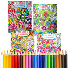 4 Coloring Books + BONUS COLORED PENCILS Floral Design for Adult NEW