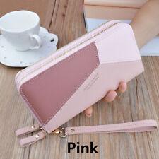 Women Leather Large Capacity Wallet Double Zipper Wallet Clutch Phone Pocket UK