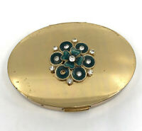 Mary Dunhill Powder Compact Unused 1940s Enamel 4 Leaf Clover RS Puff Sifter Vtg