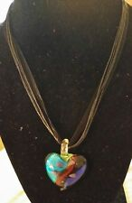 """Dichroic Fused Glass Heart Pendant w/  Cord & Ribbon Necklace 16"""""""