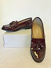 RUSSELL & BROMLEY BURGUNDY PATENT LEATHER SLIP ON LOAFERS SIZE 5/38