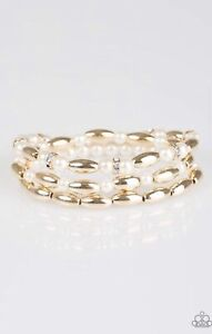 Paparazzi Chic Contender 3 Gold Stretch  Bracelets Pearls Crystals Beads NWT