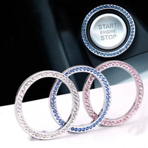 1xAuto Car SUV Decorative Button Start Switch Silver Rhinestone Ring Accessories
