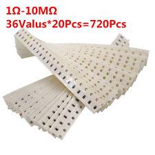720pcs 36values 0603 1ohm-10Mohm Ω SMD SMT Resistor Resistance Assortment kit 1%