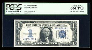 DBR 1934 $1 Silver Funnyback Gem Fr. 1606 AA Block PCGS 66 PPQ Serial A85514867A