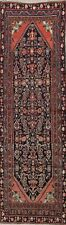Antique 11 ft Navy Blue Runner Hamadan Oriental Vegetable Dye Rug 3'x11'