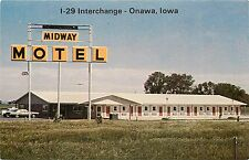 Onawa Iowa Ia c1970 Midway Motel, I-29 Interchange, Exit 175 Postcard old cars