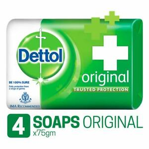 4 x Dettol Original Soap Bar Anti-bacterial Dermatology Tested 75g (300g)