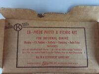 Vintage Shel-Glo Kilgore 17 Pc. Party Picnic Kit Westerville, OH 1950s