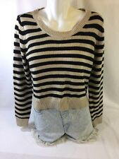 Divided Women. Long Sleeve Blouse  Size S Tan And Black Striped Bin39#4
