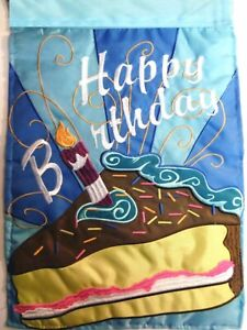 "Happy Birthday-House Flag-Double Sided Appliquéd-29""x42"""