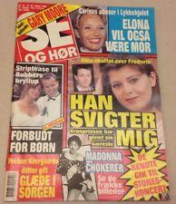 """Madonna Shocks Photos Inside Front Cover Vtg Danish Magazine 1990 """"Se og Hoer"""""""