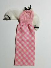 1973 VINTAGE QUICK CURL BARBIE ORIGINAL OUTFIT #4220 PINK & WHITE GINGHAM DRESS
