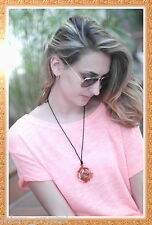 Colgante collar artesanal lana COLOR ROJO 2 - mujer adolescente niña hippie