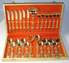 Spoon Set 24 k. Gold Plated Comes in beautiful golden red velvet liner box.USA!!