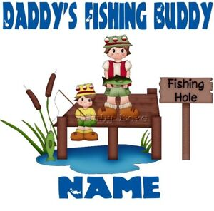 IRON ON TRANSFER PERSONALISED DADDY'S FISHING BUDDY