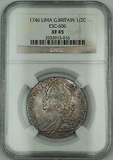1746 Lima Britain 1/2C Half Crown Silver Coin ESC-606 George II NGC XF-45 AKR