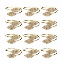12Pcs Rhinestone Napkin Ring Set Handmade Serviette Buckle Holder Wedding Dinner