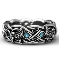 Celtic Wolf Zircon Ring Totem 925 Silver Dyed Black Ring Vintage Stone