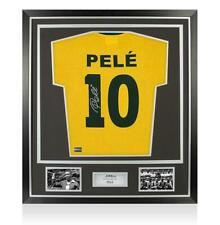 Pele Back Signed Brazil Number 10 Shirt In Classic Frame Autograph Jersey