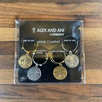 New Alex And Ani Set Of 4 Wine Charms Tree Of Life Lotus Star Venus Path Of Life