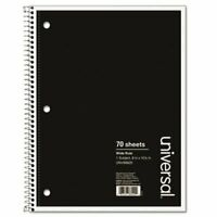 Universal Wirebound Wide Rule Notebook, 8 x 10-1/2, 100 Sheets (UNV66620)