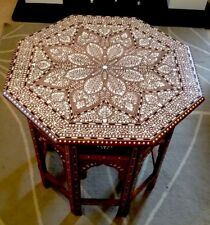 Indian Inlaid Handmade Sheesham  Octagonal Table Royal Heart Design 22""