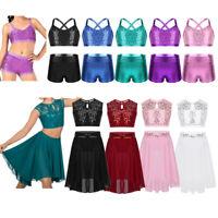 Sequins Girl Dance Outift Ballet Lyrical Crop Top+Skirt Dancewear Gym Shorts Set