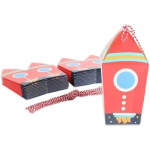 Outer Space Birthday Party Favor Boxes, Rocket Ship, Silver Foil (24 Pack)