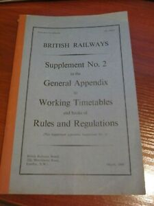 1968 British Railways Supplement No. 2 to General Appendix to Working Timetables