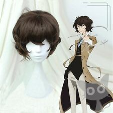 Bungo Stray Dogs Dazai Osamu Short Brown Curly Heat Resistent Cosplay Wig E109