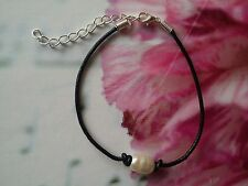 1 X Handmade Real Leather Cord Bracelet With Freshwater Pearl Bead
