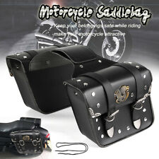 2Pcs Motorcycle Side Saddle Bags Saddlebags Pannier Luggage Storage PU