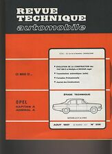 (27B)REVUE TECHNIQUE AUTOMOBILE OPEL KAPITAN ADMIRAL / FIAT 600D MULTIPLA NECKAR