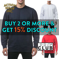 PROCLUB PRO CLUB MENS PLAIN CREW NECK HEAVYWEIGHT SWEATSHIRT ROUND NECK SWEATER