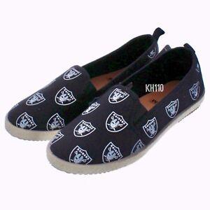 NFL Oakland Raiders Logo Women's Canvas Espadrille Slip On Flat Shoes