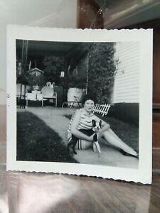Vintage Photo Woman Stripe Dress Boston Terrier Dog L11