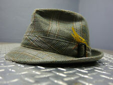 SIZE 7 1/8 Vintage STEVENS Tweed Plaid Fedora Hat Made in USA
