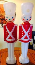 """Vintage 31"""" Set Of 2 Christmas Soldier Blowmold Empire Toy Nut Cracker Blow Mold"""