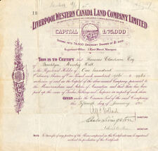 Liverpool Western Canada Land Company > 1912 Canada Liverpool stock certificate