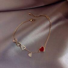 Gold Red Heart Cubic Zirconia Loop Dangle Drop Bracelet