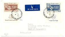 ISRAEL 1950  MI# 19 , 21  CV $ 500  COVER TO  SWITZERLAND    F/ VF