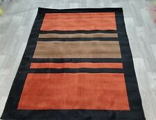 CHINESE RUG, GEOMETRIC,STRIPED,2.27x1.60, BLACK,ORANGE/RUST, BROWN,HAND CARVED