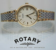 ROTARY WATCH Ladies TWO TONE GOLD PLATED SELF ADJUST BRACELET Great Gift Boxed