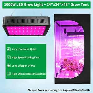 1000W Led Grow Light Kit Full Spectrum +2' x 2' Hydroponic Indoor Grow Tent Kit