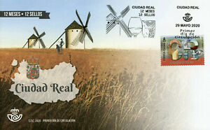 Spain 12 Months 12 Stamps 2020 FDC Ciudad Real Architecture Landscapes 1v SA Set